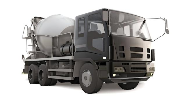 흰색 바탕에 검은색 택시와 회색 믹서가 있는 콘크리트 믹서 트럭. 건설 장비의 3차원 그림입니다. 3d 렌더링.