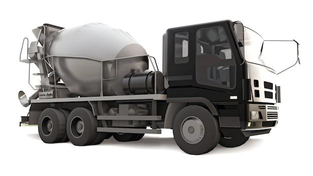 검은 택시와 흰색에 회색 믹서 콘크리트 믹서 트럭