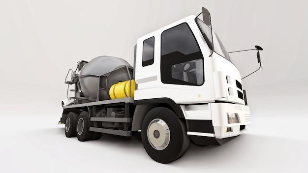 흰색 택시와 흰색 바탕에 회색 믹서가 있는 콘크리트 믹서 트럭. 건설 장비의 3차원 그림입니다. 3d 렌더링.