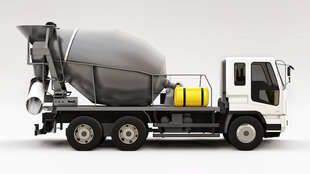 Concrete mixer truck with white cab and grey mixer on white space. three-dimensional illustration of construction equipment. 3d rendering.