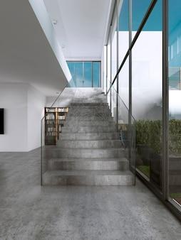 유리 난간이 있는 현대적인 콘크리트 계단입니다. 3d 렌더링