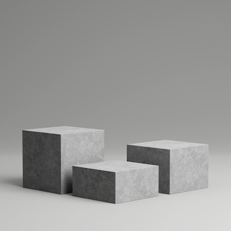 Concrete pedestal for product display with grey background.