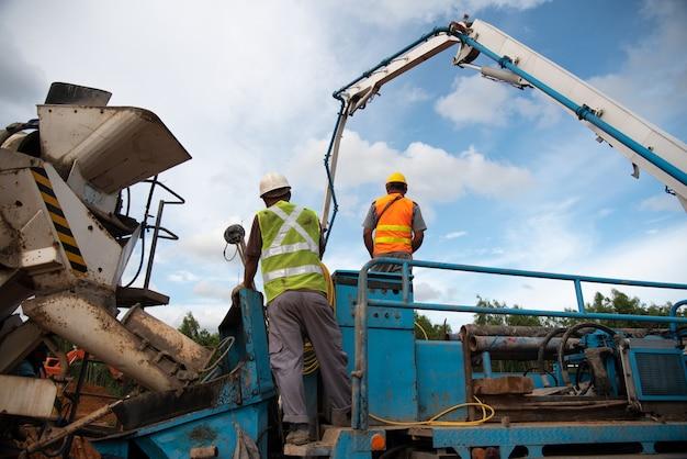 Concrete pump at construction site