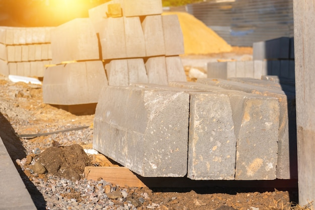 Concrete slabs for construction site close-up view. building materials background photo