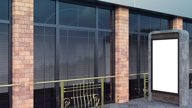 Concrete and steel information displays. modern large windows and brick columns.
