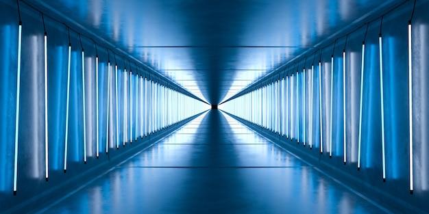 벽에 네온 램프 튜브가있는 콘크리트 터널