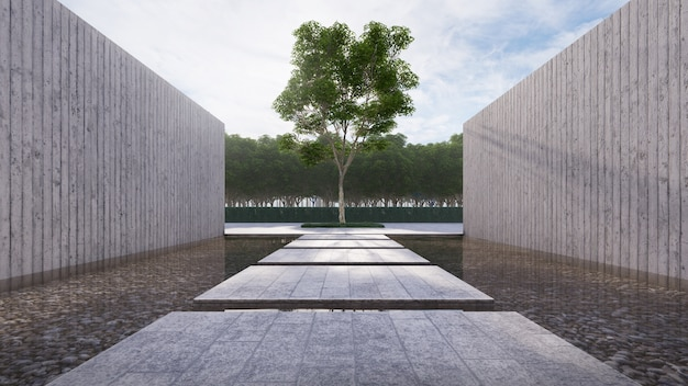 Concrete walk way float on the pond has wall concrete beside  and main big tree Premium Photo
