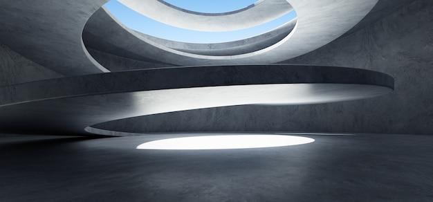 Бетонные стены и пол фон со структурой винтовой лестницы. 3d фото реалистичный рендеринг