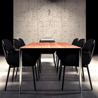 Concrete wall in contemporary office interior mockup, 3d rendering