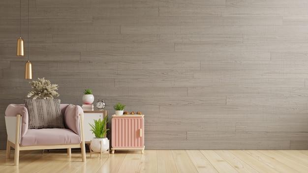 Бетонная стена в доме с креслом и аксессуарами в комнате. 3d визуализация