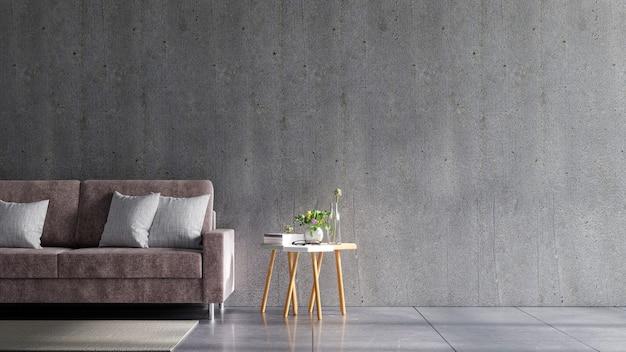 Бетонная стена в доме с диваном и аксессуарами в комнате. 3d визуализация