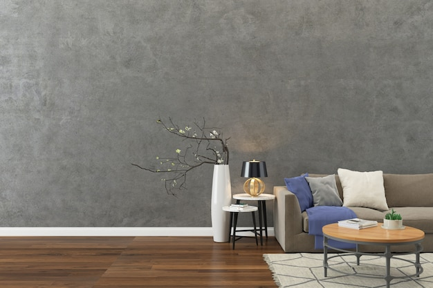 Concrete wall texture background wood floor light brown sofa