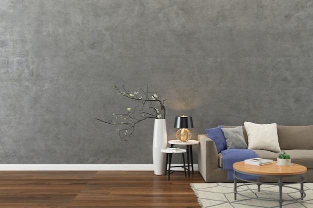 콘크리트 벽 질감 배경 나무 바닥 밝은 갈색 소파