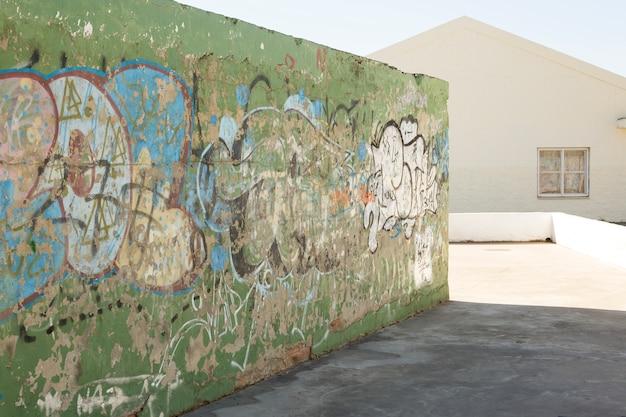 Concrete wall with graffiti