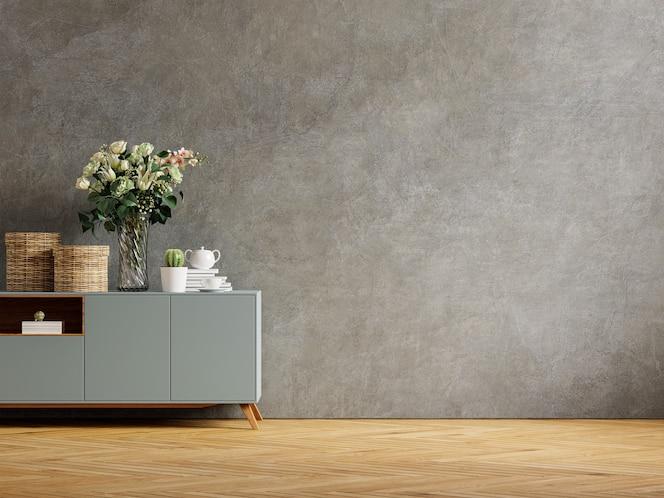 有装饰植物和装饰物品的混凝土墙在内阁,3d翻译