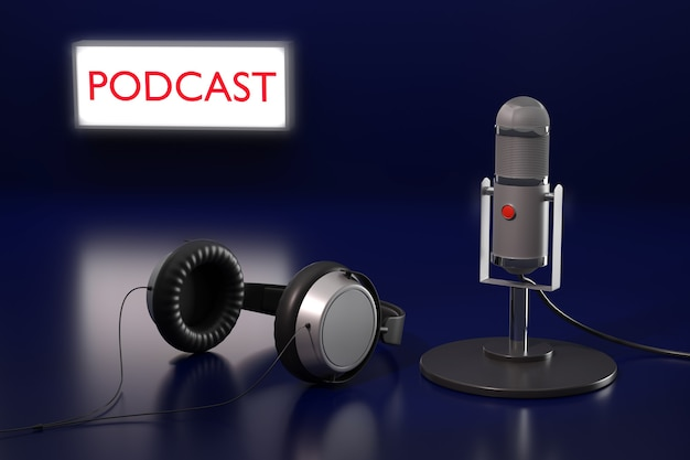 Condenser microphone, headphones and sign with the text