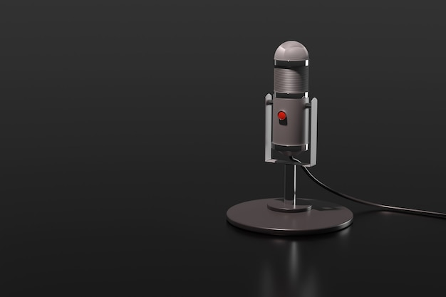 Condenser microphone isolated on a black background. 3d illustration.