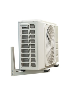 Condensing unit of air conditioning systems isolated on white with clipping path. condensing unit installed on the wall.