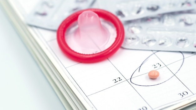 Condom with contraceptive, birth control pill, safe sex
