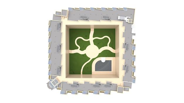 Кондоминиум 3d модель. многоквартирный дом с двором. 3d рендеринг.