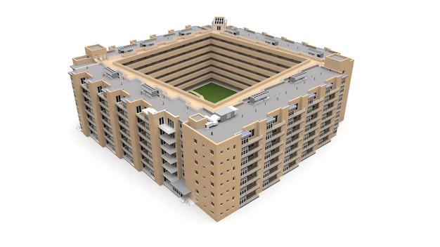 Кондоминиум 3d модель. многоквартирный дом с двором. 3d-рендеринг.
