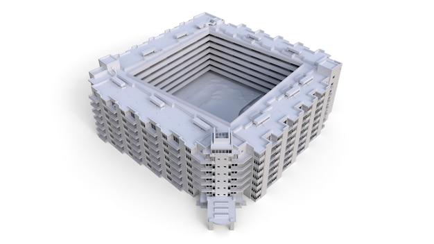 Модель кондоминиума белого цвета с прозрачными стеклами. многоквартирный дом с двором. 3d рендеринг.