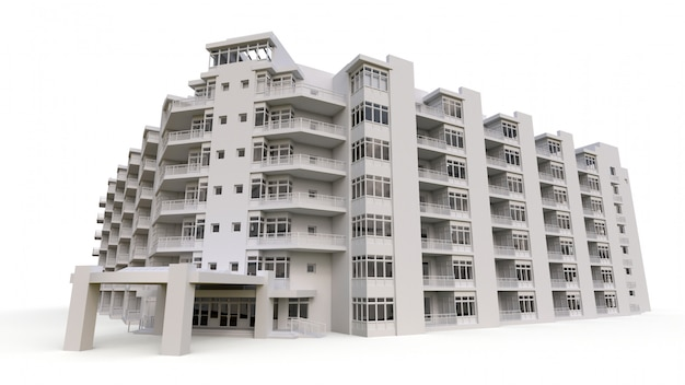 Condominium model in white color with transparent glasses. apartment house with a courtyard. 3d rendering.