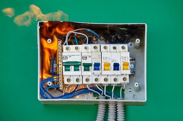 自動回路ブレーカーで導体が緩み、アーク放電が発生し、すぐに配電盤が発火しました。