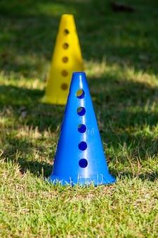 Cone for exercises on the grass in rio de janeiro brazil.