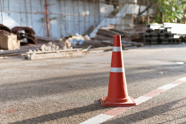 Cone traffic sign at construction site