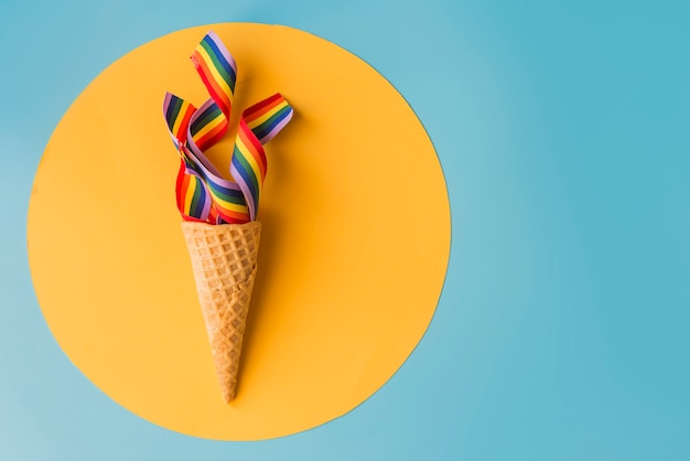 Cone with rainbow concept summer