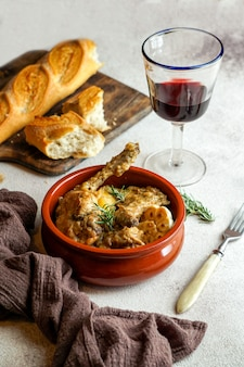 Conejo en salmorejo al estilo canario, roasted rabbit in canarian marinade, spanish and canary islands food