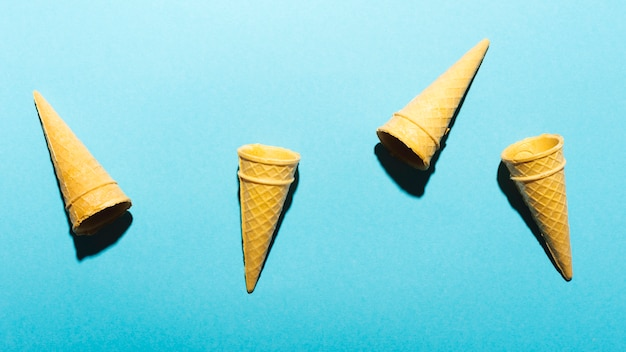 Cones on light blue background