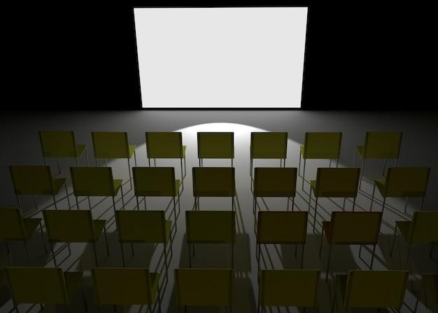 Конференц-зал как кинотеатр с пустым белым экраном