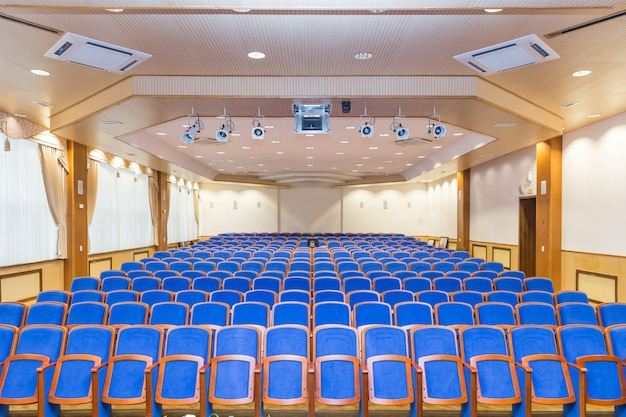 Conference hall with blue seats
