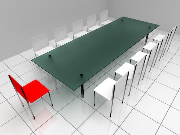椅子とテーブルのある会議ホール