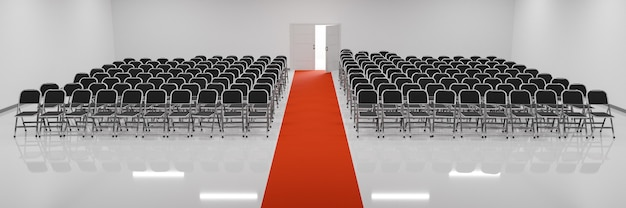 Конференц-зал, полный стульев, с красной ковровой дорожкой посередине и дверью сзади. 3d иллюстрация