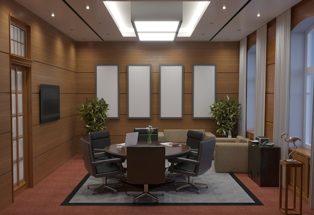 회의실, 회의실, 인테리어 시각화, 3d 일러스트레이션