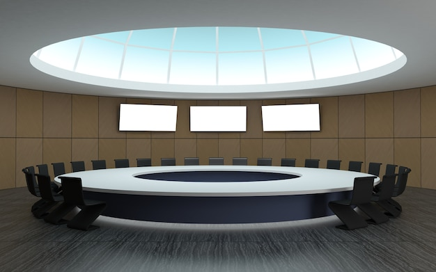 Conference room for meetings with a dome round shape with a large table
