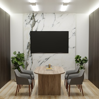 Конференц-зал с телевизором на мраморной стене, стульями и письменным столом