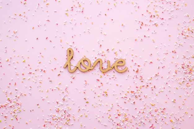 Confetti around love writing