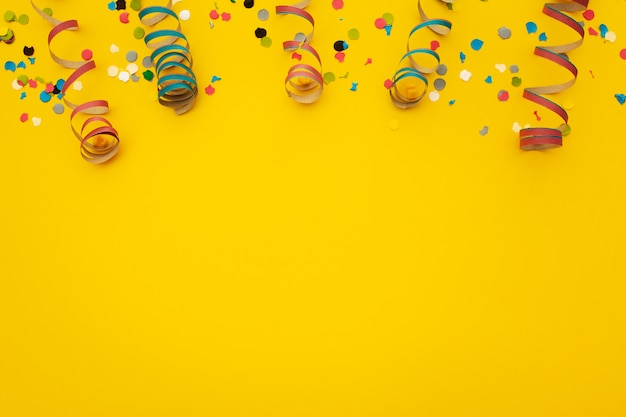 Confetti on yellow