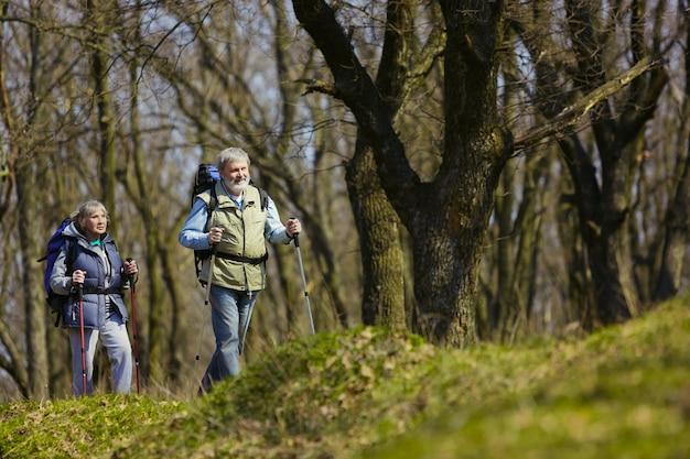 Уверенность в результате. возрасте семейная пара мужчина и женщина в туристическом снаряжении, идущем на зеленой лужайке рядом с деревьями в солнечный день. концепция туризма, здорового образа жизни, релаксации и единения.