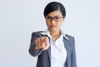 Confident businesswoman choosing you