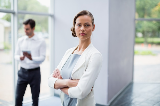 Confident businesswoman at conference centre