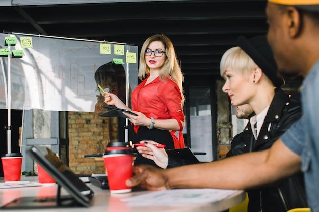会議で同僚にマーケティング結果をコメントする赤いシャツで自信を持って女性実業家。フリーランス、チームワーク