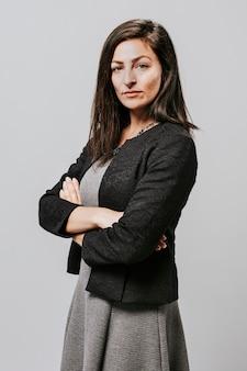 Confident businesswoman in a studio