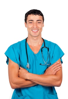 Confident doctor holding a stethoscope