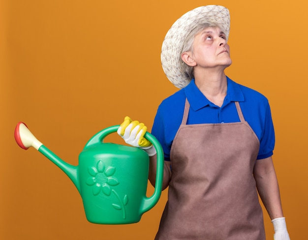 Confident elderly female gardener wearing gardening hat and gloves holding watering can and looking up