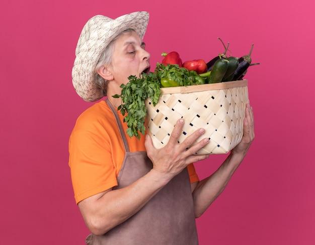 Fiducioso giardiniere donna anziana che indossa cappello da giardinaggio tenendo e guardando cesto di verdure isolato su parete rosa con spazio copia